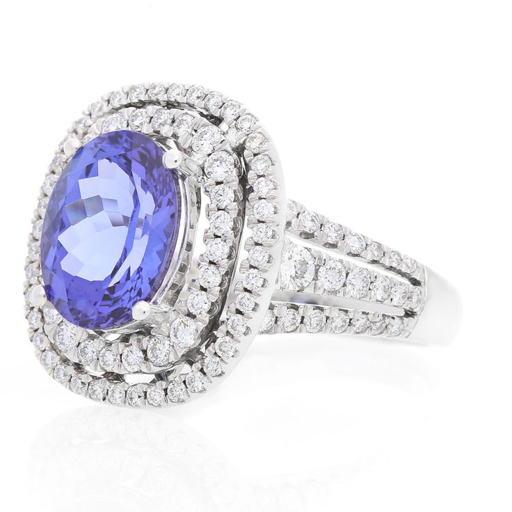 18K White Gold Diamond and Tanzanite Ring For Sale by Uwe Koetter.    www.uwekoetter.com