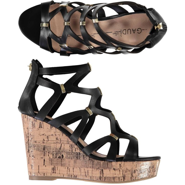 Sandalo Gaudi in pelle nera inserti gold con zeppa in sughero - € 119,00 scontato del 9% lo paghi solo € 107,90 | Nico.it - #nicoit #moda #fashion #ss15 #springsummer #spring #summer #fashionista #love #bestoftheday #me #outfit #lookoftheday #picoftheday #newcollection #newarrivals #cutout #shoes #boots #loveshoes #sandals #wedges