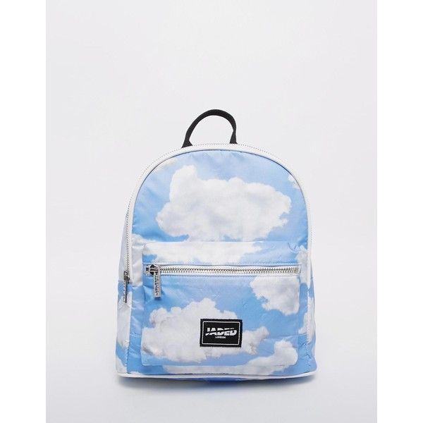 Jaded London Cloud Print Backpack (5.090 RUB) ❤ liked on Polyvore featuring bags, backpacks, blue, top handle bag, zip top bag, rucksack bag, knapsack bags and backpacks bags