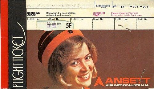 Ansett Airlines of Australia Flight Ticket, circa 1975 - 1976