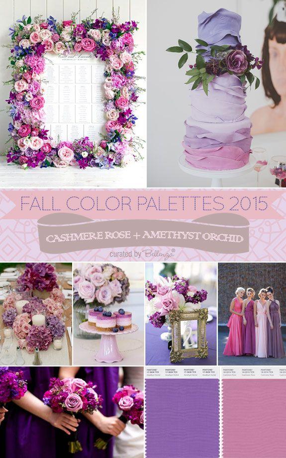 Paleta de colores con rosa cachemira y orquídea radiante para decoracion de bodas. #BodasVioleta
