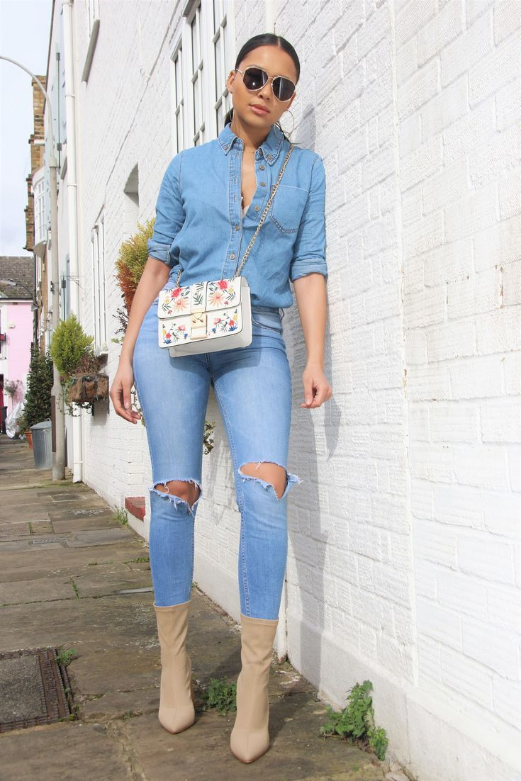 d4a4bf1b54f High-Waisted Jeans Outfits That Flatter Every Body Type  Double Denim Outfit  for Casual Days