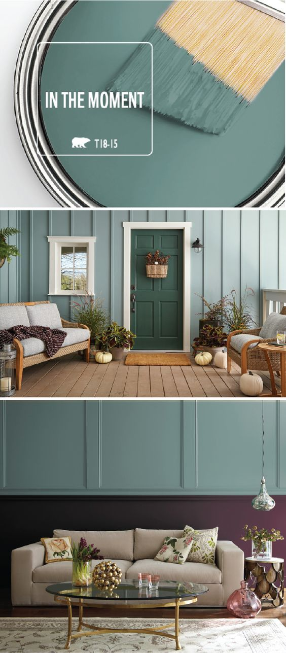 The possibilities are endless when it comes to the BEHR 2018 Color of the Year: In The Moment. Allow the blue-green hue of this paint color to create a calming, relaxing environment in your home. This front porch uses a monochromatic color palette while this living room creates contrast with a two-tone wall. Check out the rest of this article for more interior design inspiration.
