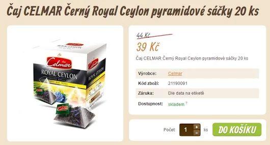 Čaj CELMAR Černý Royal Ceylon pyramidové sáčky 20 ks  >>> https://www.vito-grande.cz/p/caj-celmar-cerny-royal-ceylon-pyramidove-sacky-20-ks/  Přeložit