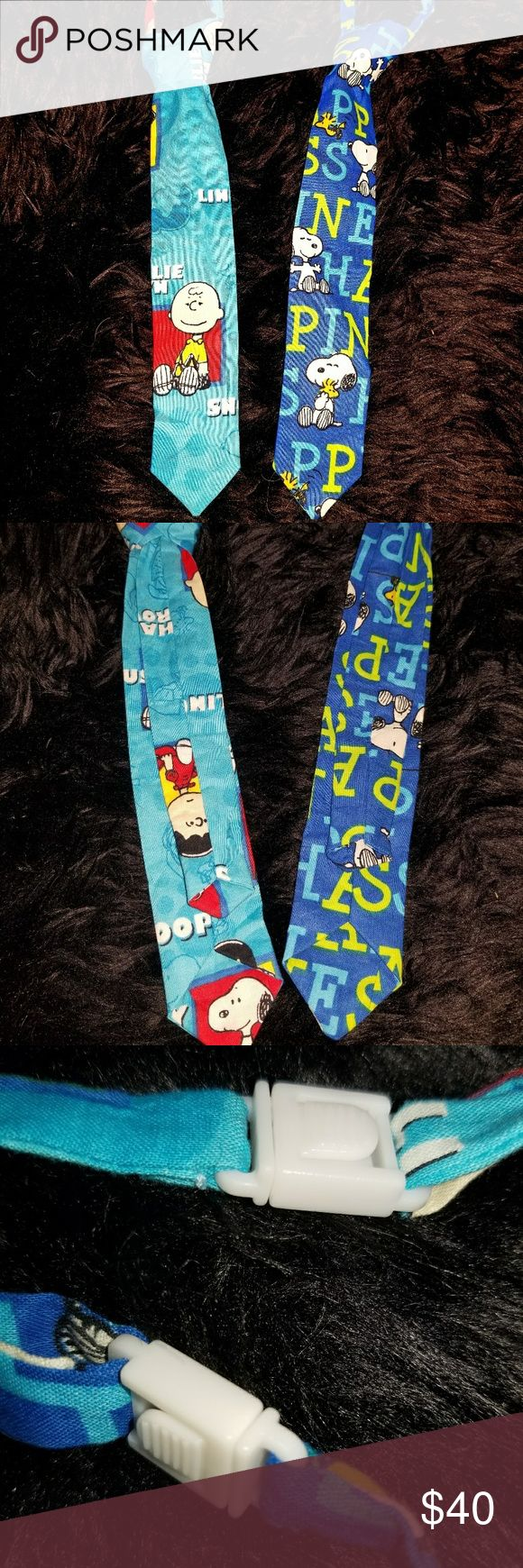 Peanuts Theme Custom Made Adjustable Ties! I had these custom made by an Etsy seller many years ago when my son was heavily into Peanuts. He probly wore them twice & they were not just handmade, but the seller actually searched for fabric based off what I wanted & these are the only ties of their kind. They have Charlie Brown, Snoopy, Woodstock, & Lucy  print.  They clip on & go under the collar or pair with Tshirt for a funky hipster look.  Offers more than 10% are rejected unless you are…