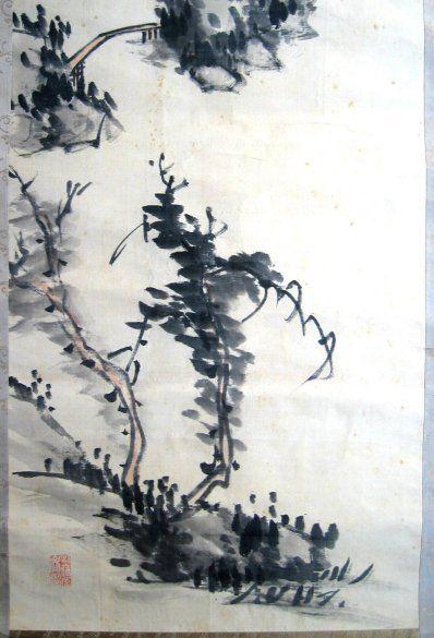 Japanese Ink Brush Landscape Painting by Famous Japanese Painter Haizan Yoshitsugu (1846-1915)