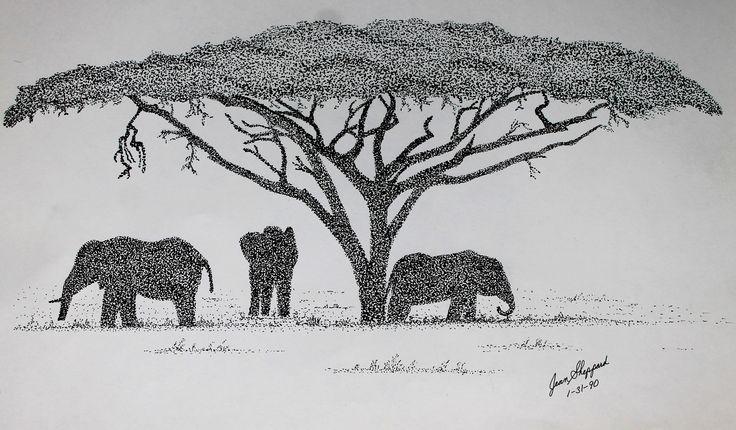 Elephants Pen & ink pointilism