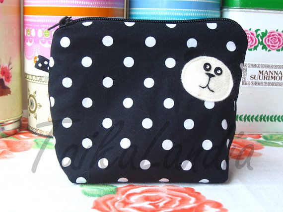 Panda Make-Up Bag  Black Panda Cosmetic Bag  Panda by TaikaLand