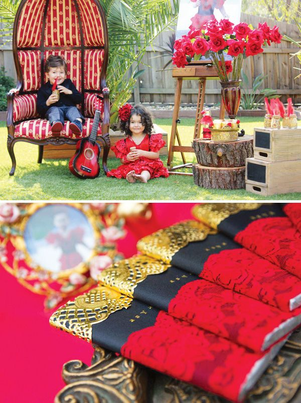 Beautiful Red Rose & Gold Flamenco Party Theme