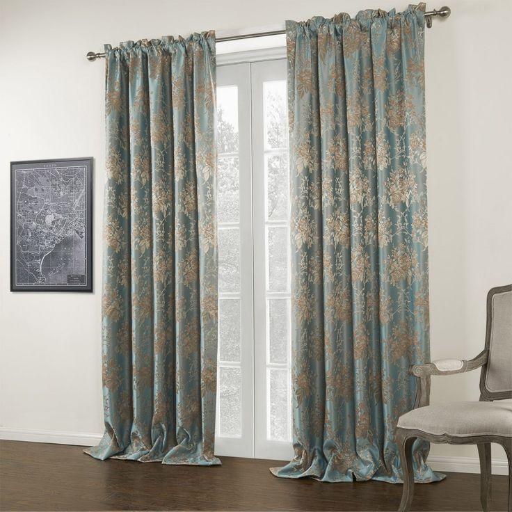 Jacquard Blue Floral Blackout Curtain #curtains #decor #homedecor  #homeinterior #blue. Curtains For BedroomBlue ...