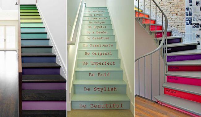 Customiser un escalier, ce n'est pas si compliqué ! Collectez des chutes de papier peint, des carreaux de carrelage, des pots de peinture de toutes les cou