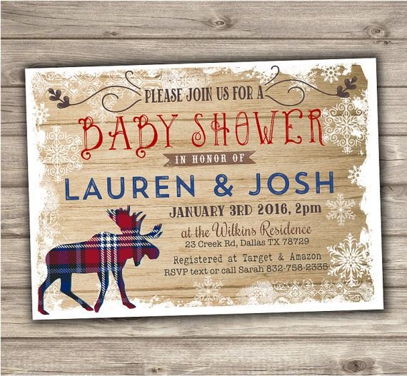 Moose Baby Shower Invitations Woodland Rustic Snow Boy by cardmint