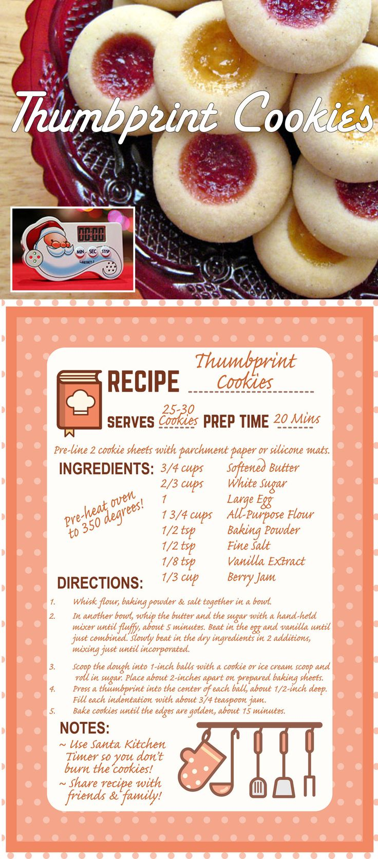 Week 20: Thumbprint Cookies - gevuld met stukjes karamel, stukjes chocola of…