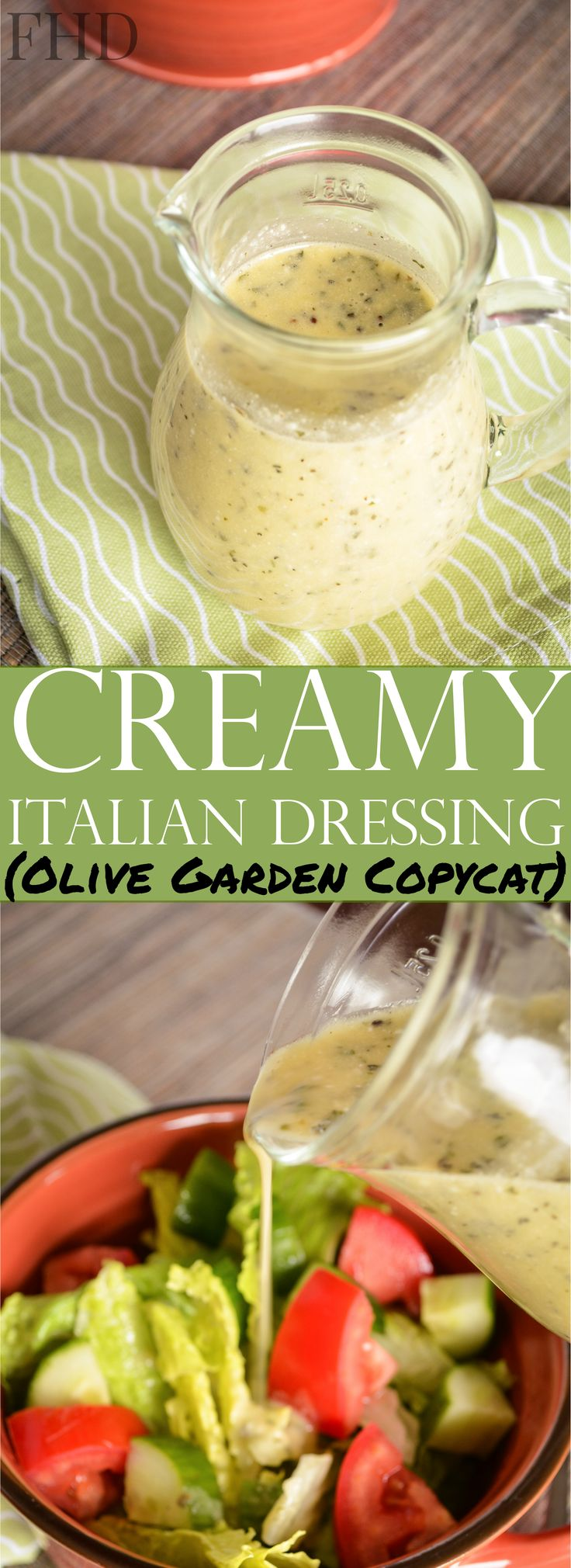 Try this low carb, sugar-free recipe for Creamy Italian Dressing! A healthier copycat of your favorite Olive Garden Dressing! THM S