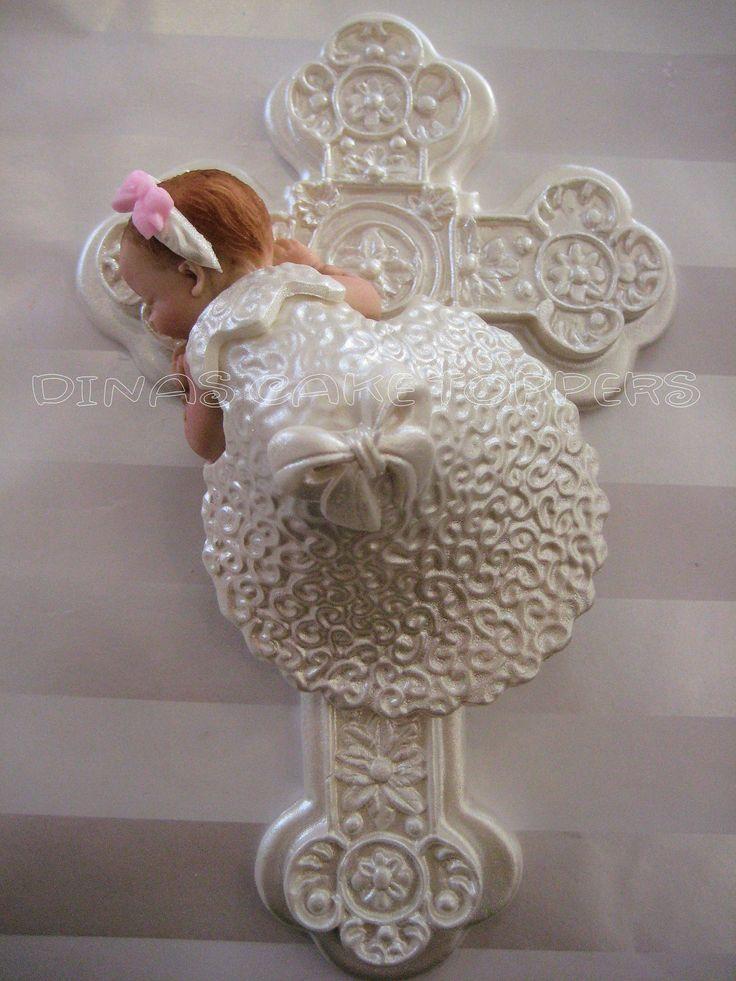 BAPTISM CHRISTENING Gown  Cake Topper Cross door DinasCakeToppers, $35,00