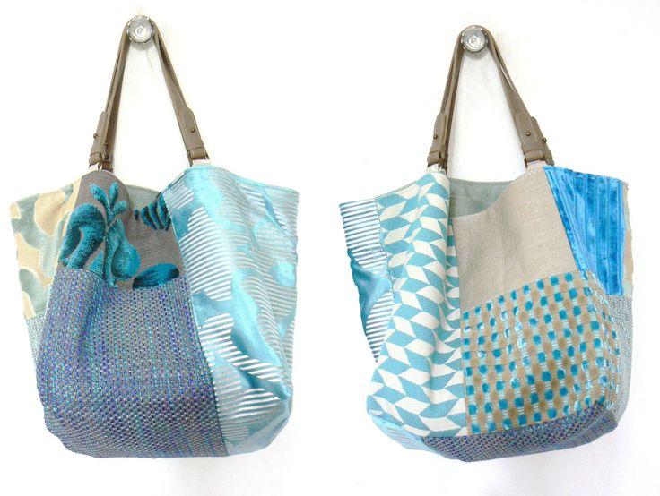 """Réservé : sac réversible Recto-Verso """"Mosaïque"""" turquoise, 50cm X 40cm, pièce unique : Sacs à main par dianne-thomas"""