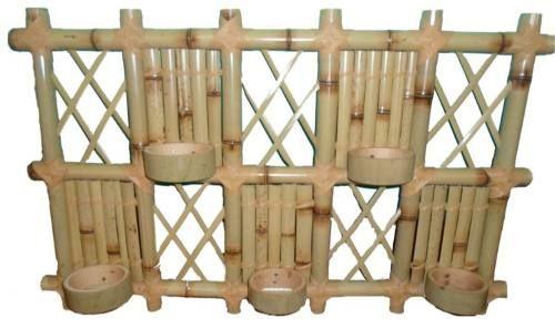 floreira de parede em bambu 5 vasos / jardim vertical