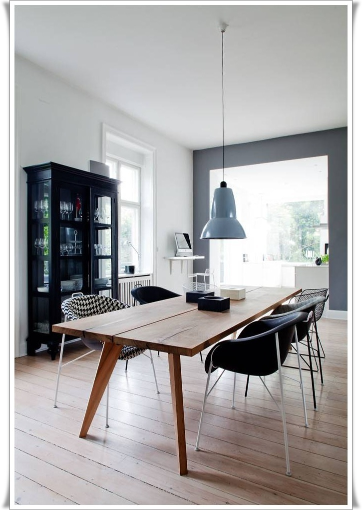 beautiful dining room, love the lamp, chairs, table, hutch & wall colors