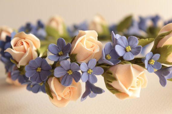 Flowers crown. Hair wreath. Polymer clay flowers. by FloraAkkerman, $80.00