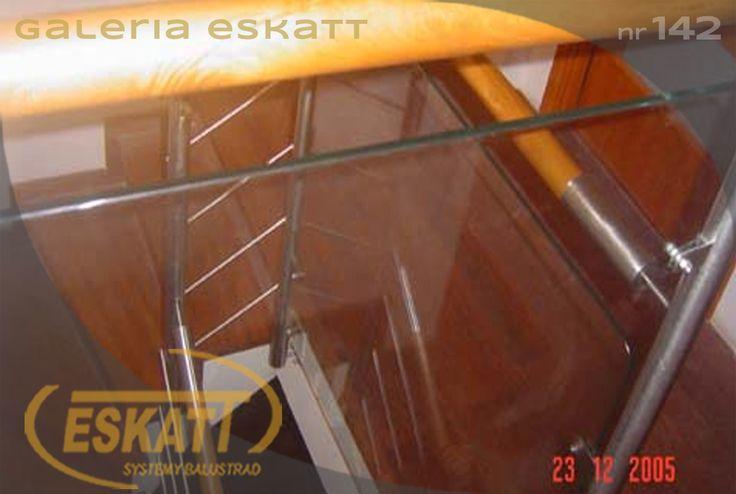 Stainless steel glass balustrade with wooden handrails #balustrade #eskatt #construction #stairs