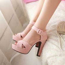 Alta Plataforma Del Talón Grueso de Gladiador Sandalias de Punta Abierta de la Mujer Zapatos de Vestir Formales Más El Tamaño 34-43 Zapatos Dulces Gentlewomen Roma(China (Mainland))