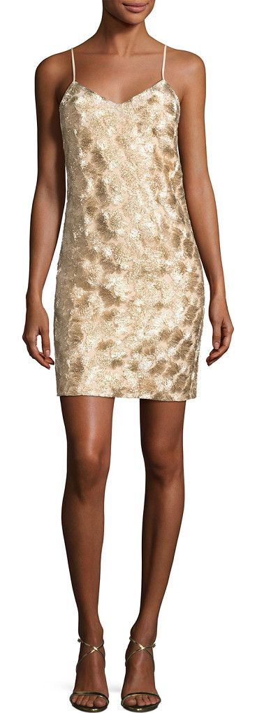 "Highlight Sleeveless Metallic Cocktail Dress by Trina Turk. Trina Turk ""Highlight"" mini cocktail dress with patterned metallic embroidery. V neckline; square back. Sleeveless; a..."