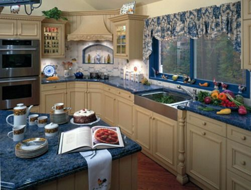 Captivating Blue French Country Kitchen Curtains Idea