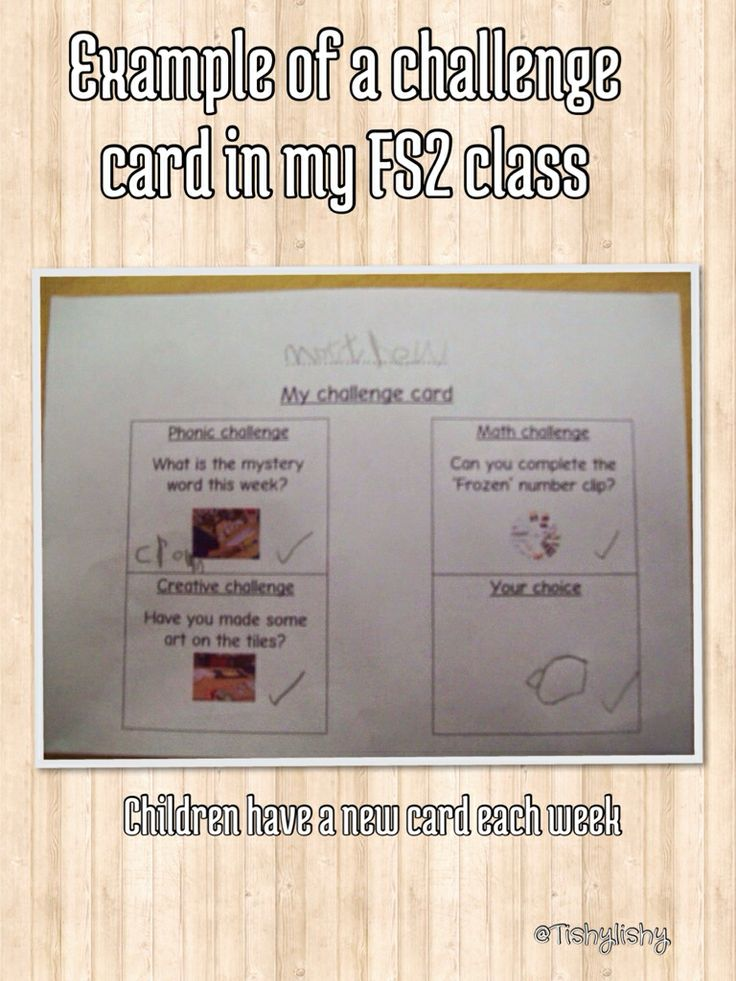 Fs2 challenge card. Encouraged to complete the three challenges and one of their own choosing.