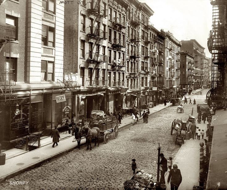1910. Mott Street in New Yorks Little Italy, now Chinatown.