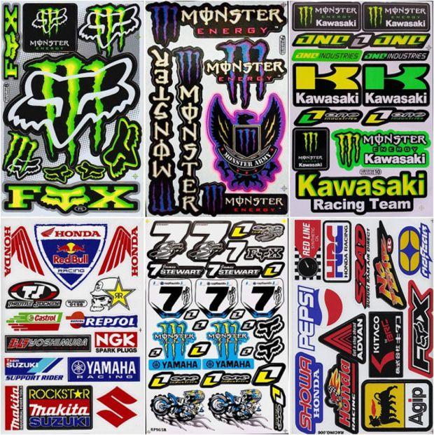 6 sheets graphic kit decals rockstar racing decals sticker