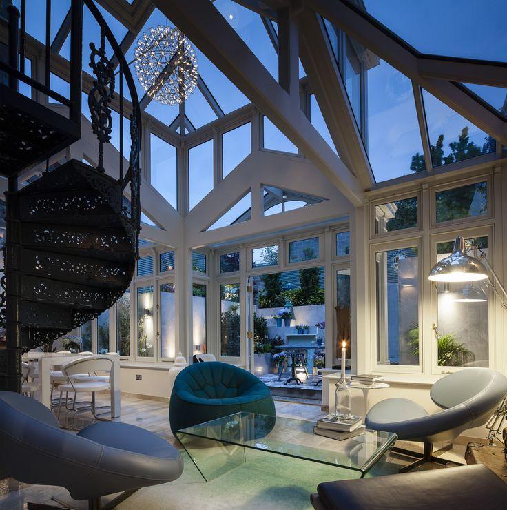 Large open living space, extension, contemporary living, bluebellgray rug, lignet roset, salvaged spiral staircase #kld #kingstonlaffertydesign