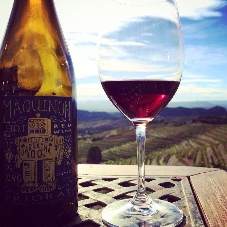 Disfrutando de Maquinon frente a los viñedos de Garnacha Negra en el Priorato