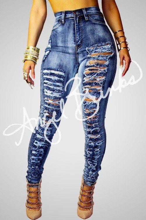 Vibrant Shredded Jeans | Shop Boutique on Angel Brinks