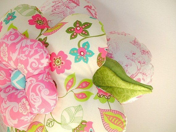 Nursery Rhymes Pink Flower Pillow Number 2 by Wehrhouse on Etsy, $35.00