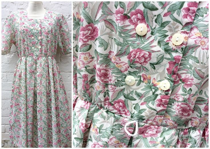 Floral dress, vintage women's fashion, 80's summer outfit by retrobelluk on Etsy https://www.etsy.com/uk/listing/510842626/floral-dress-vintage-womens-fashion-80s