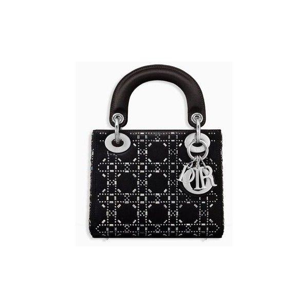 9929cb15f4b Mini lady dior bag in black cannage satin with rhinestones - Dior ❤ liked on  Polyvore