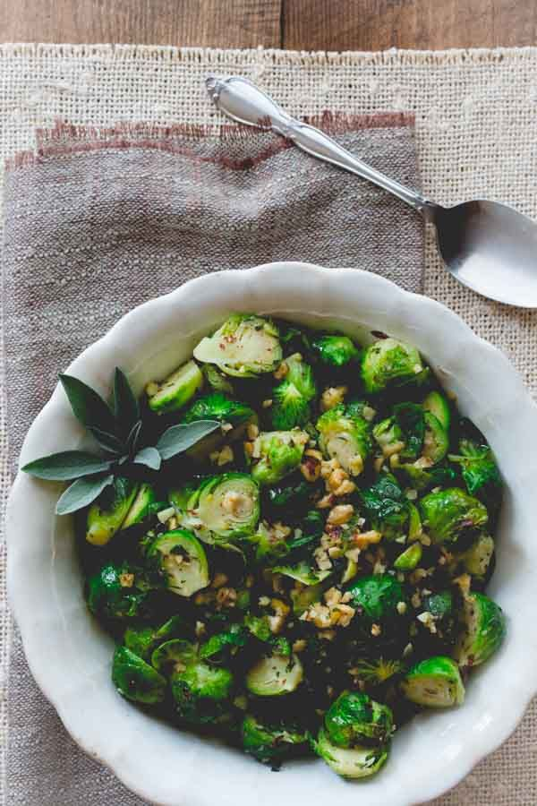 Brussels Sprouts with Hazelnuts oregano and Sage   Thanksgiving