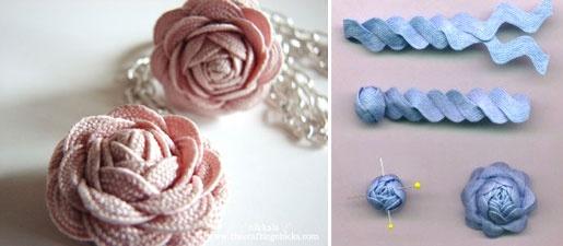 DIY ribbon flowers: Flowers Crafts, Ribbons Flowers, Diy Crafts ️, Faux Flowers, Rick Rack, Diy Ribbons, Ribbon Flower
