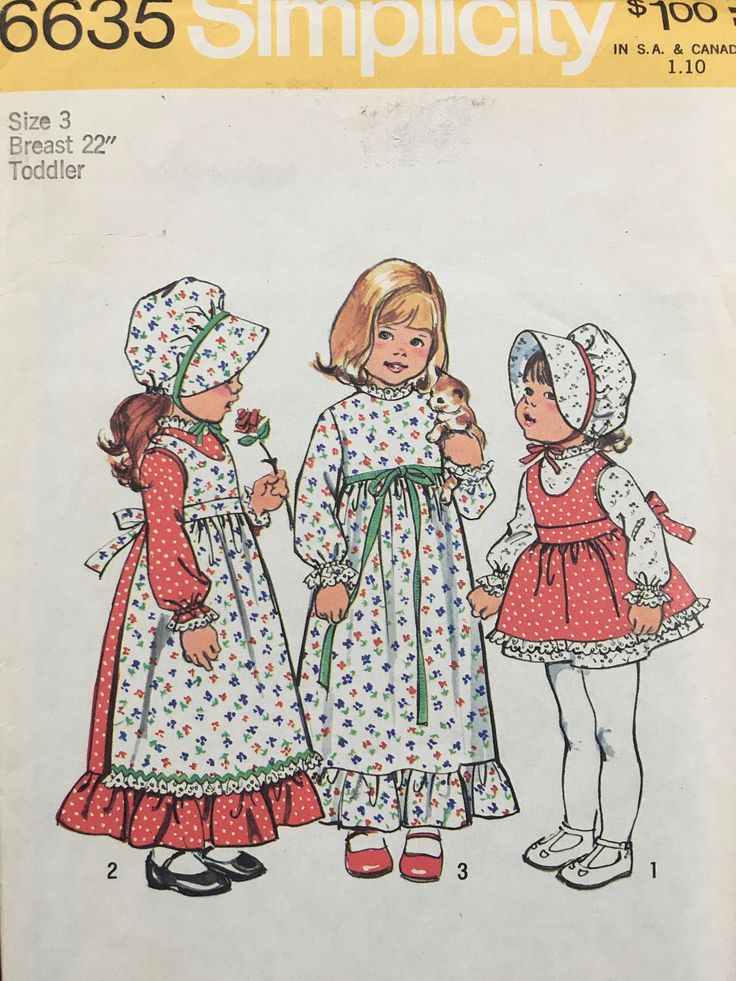 Holly Hobbie Dress Apron And Bonnet Girls Size 3 Children's Simplicity 6635 by weseatree on Etsy