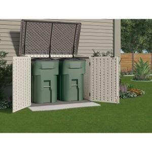 Suncast The Stow-Away 3 ft. 8 in. x 5 ft. 11 in. Resin Horizontal Storage Shed-BMS4700 at The Home Depot  possible for bikes or lawn mower will have to measure.  cheaper than buying a big shed and still moving a little out of the garage.  can put on side of house