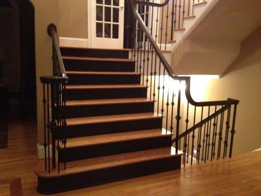 Black Stair Risers. Oak Treads