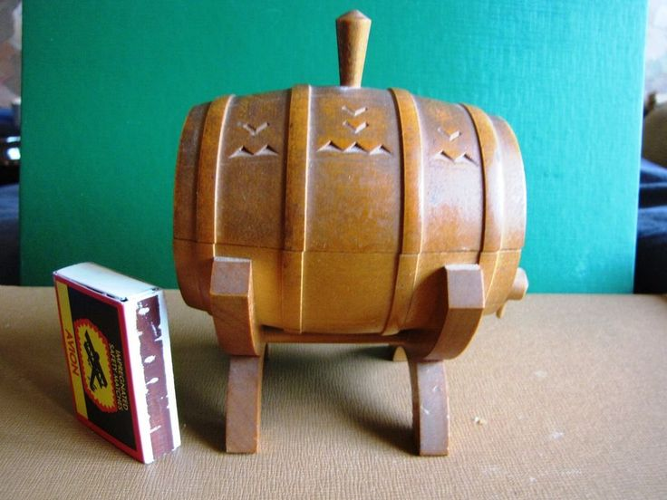 Vintage Folk Made in USSR Wood barrel Carved Detailed Trinket Box Wine Cask