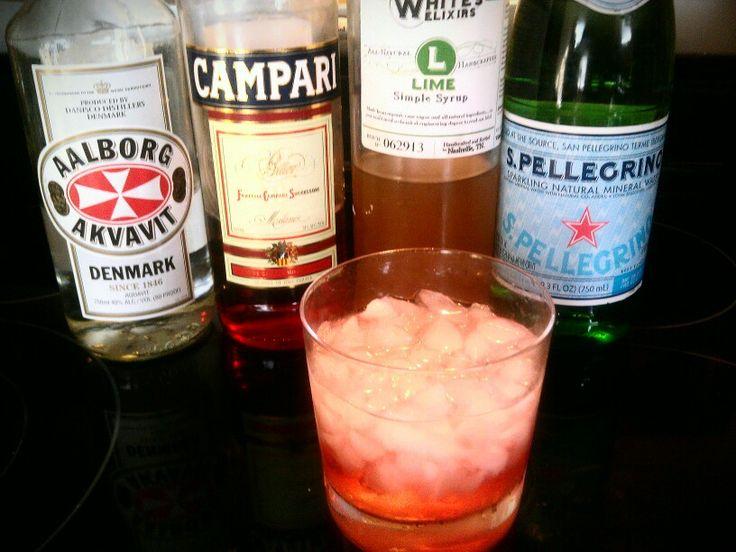 Danish Breeze - Aalborg Akvavit, Campari, Whites Lime Syrup, soda, #whiteselixirs, #whiteselixology