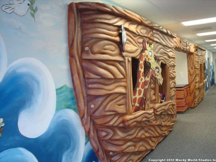 Noah's Ark entryway 3D relief complete with 2D cutouts of animals. Created for First Bible Baptist Church, MO. Church Themed Environments