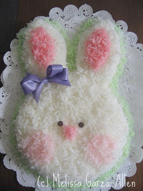 Happy Easter! Cute Coconut Bunny Cake. #Easter #Cake