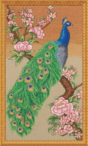 Majestic Peacock, counted cross-stitch