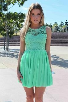 Mint green lace necked dress cute for a bridesmaid.