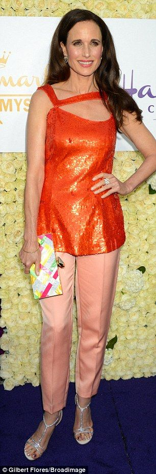 Hard to miss! Andie MacDowell and Brooke Burns livened up the night with their vibrant attire