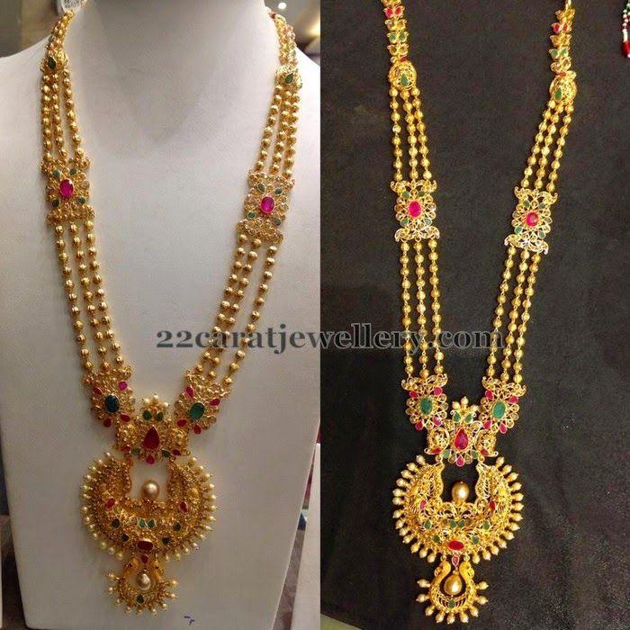 Jewellery Designs: Gold Balls Floral Long Set