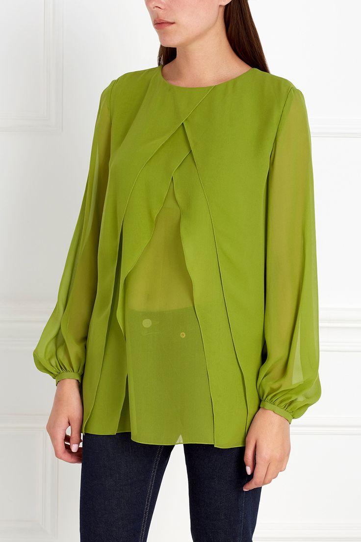 Необычная блузка зеленого цвета из натурального тонкого шелка в несколько слоев…